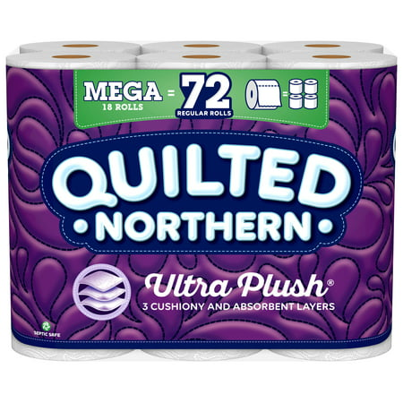 Quilted Northen Ultra Plush Toilet Paper, 18 Mega Rolls (= 72 Regular (Great Northern Locations)