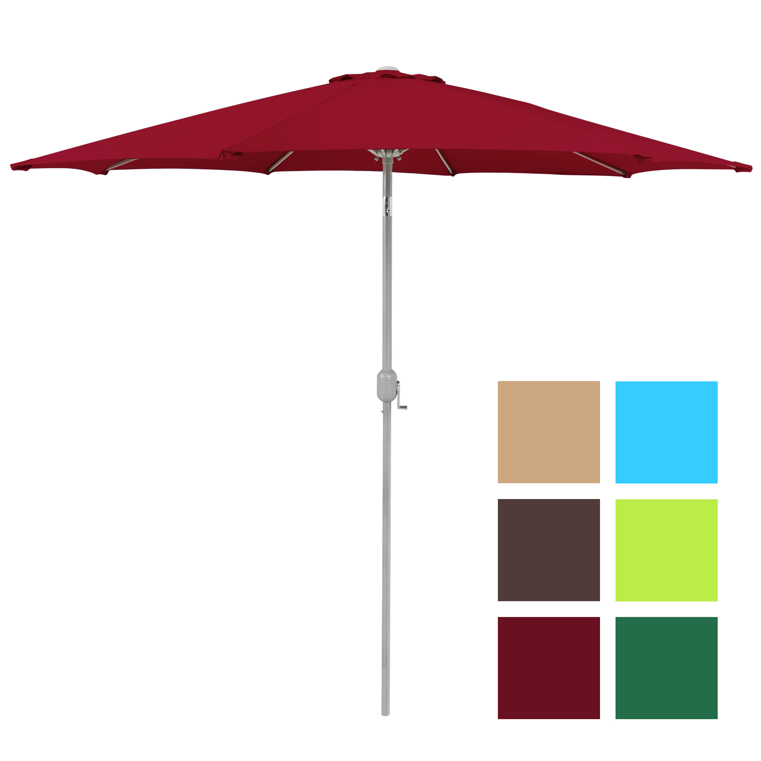 BCP 9u0027 Aluminum Patio Market Umbrella Tilt W/ Crank Outdoor   Multiple  Colors