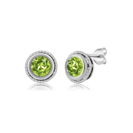 1.80 Ct Round Green Peridot Sterling Silver bezel Stud Earrings 6mm