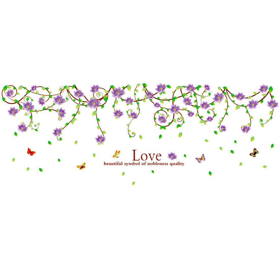 Family Decor Floral Butterfly Print Cabinet Wall Sticker Purple Green 90 x 60cm - image 4 de 4