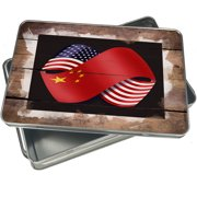 Christmas Cookie Tin Friendship Flags USA and China for Gift Giving Empty Candy Snack Pastry Treat Swap Box Cerebrate a Holiday