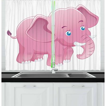Elephant Nursery Curtains 2 Panels Set, Comic Safari Animals as ...