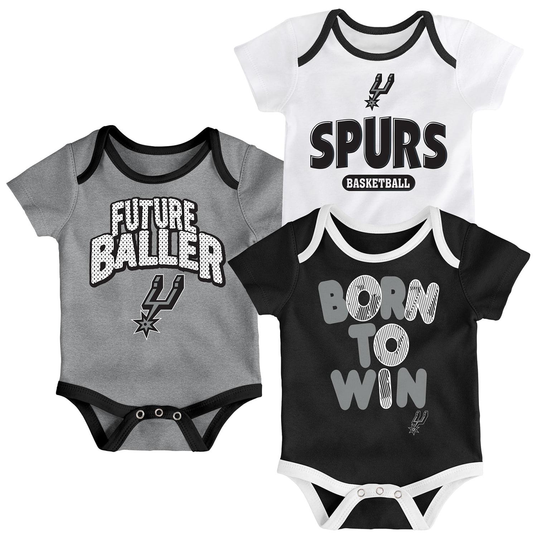 San Antonio Spurs Newborn Little Fan Three-Pack Bodysuit Set - Black/White/Heathered Gray