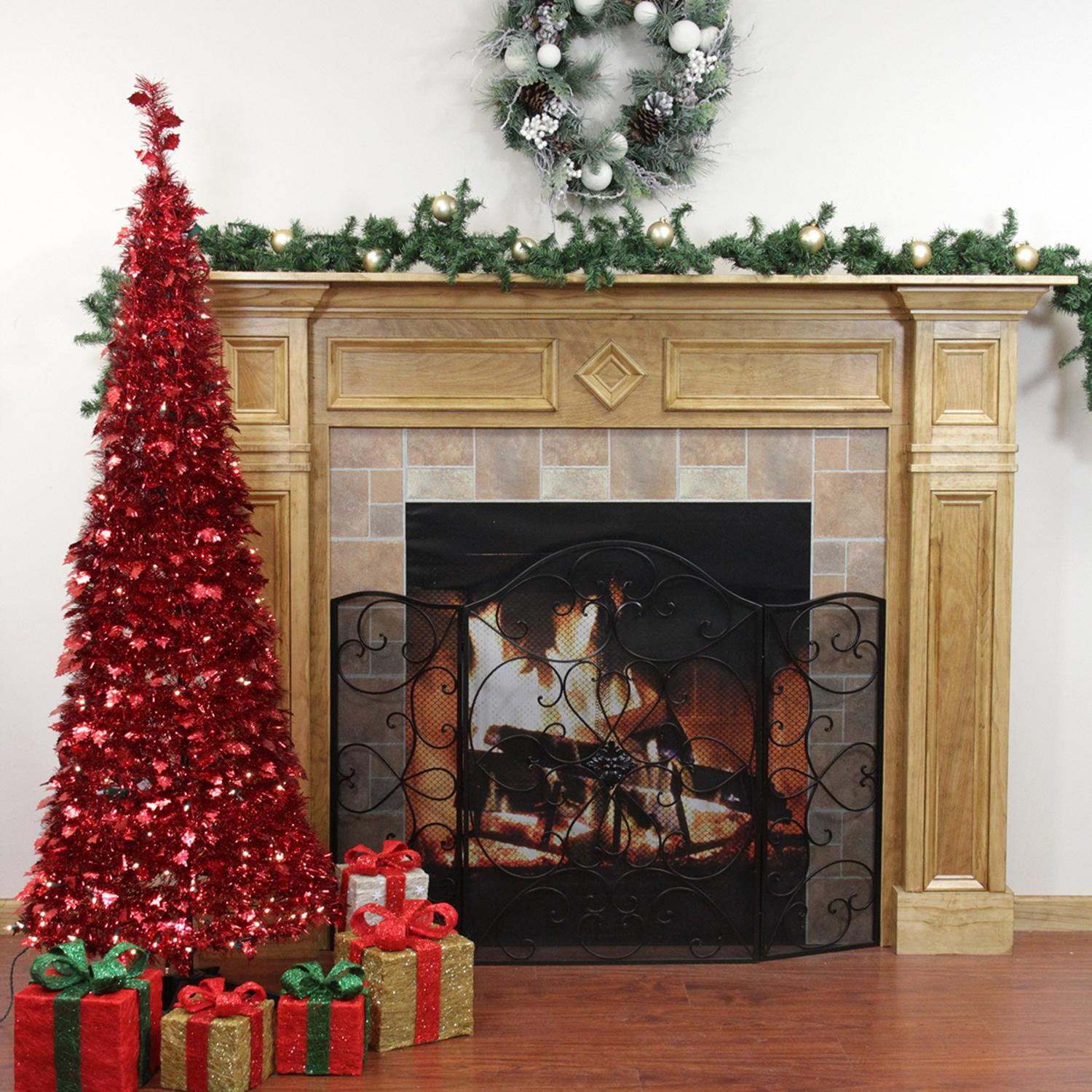 6' Pre-Lit Pop Up Red Tinsel Artificial Christmas Tree - Clear Lights