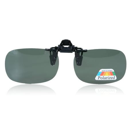 f56d3c543d Flip-up Polarized Glasses Lens Day Night Vision Driving Clip-on Sunglasses  Lens Color Blackish green Size M - Walmart.com