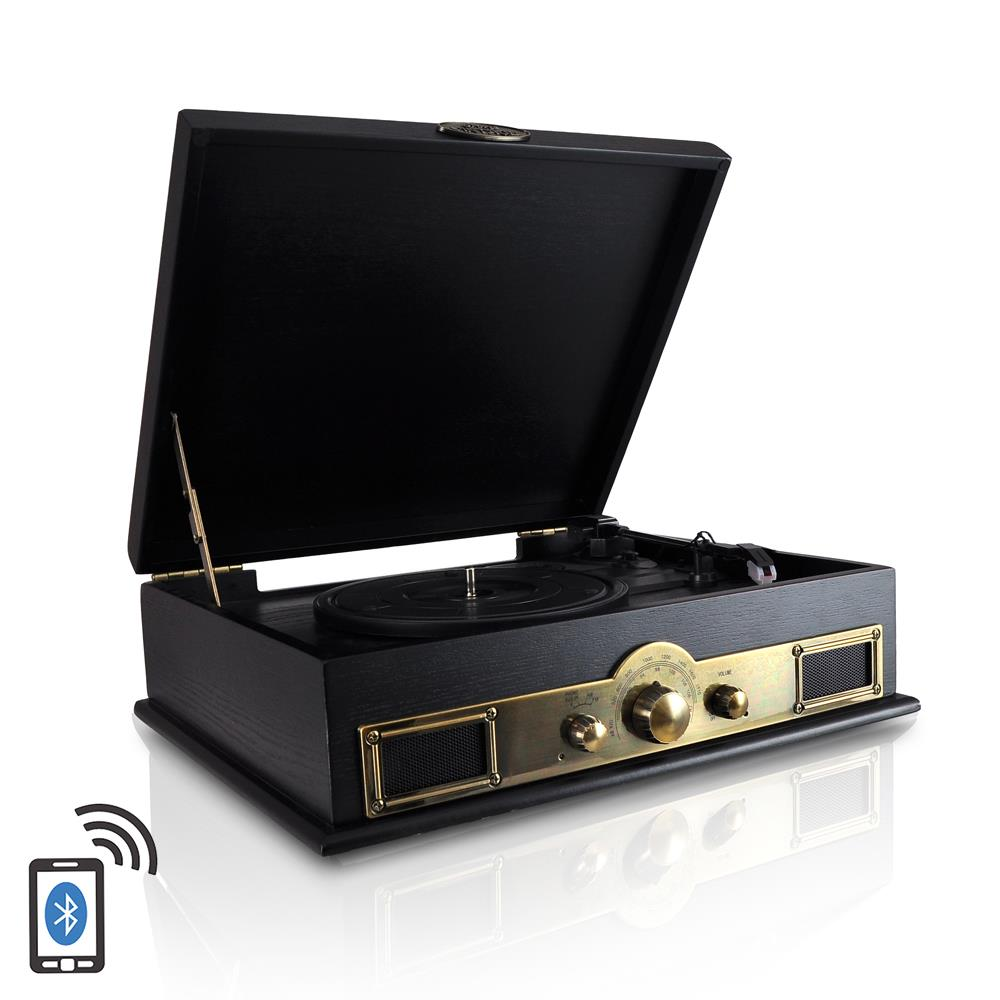 Pyle PTT30BK - Retro Vintage Classic Style Bluetooth Turntable Vinyl Record Player with Recording Ability, AM/FM Radio