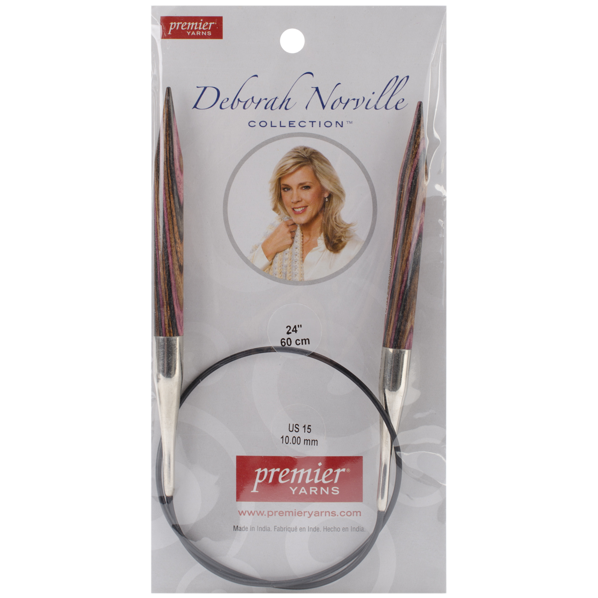 Premier Yarns Deborah Norville Fixed Circular Needles, 24-Inch, 15/10.0mm Multi-Colored