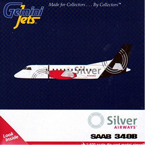 Gemini Jets GJSIL1369 Saab 340B Silver Airways 1:400 Scale Diecast REG#N3444AG Display Model