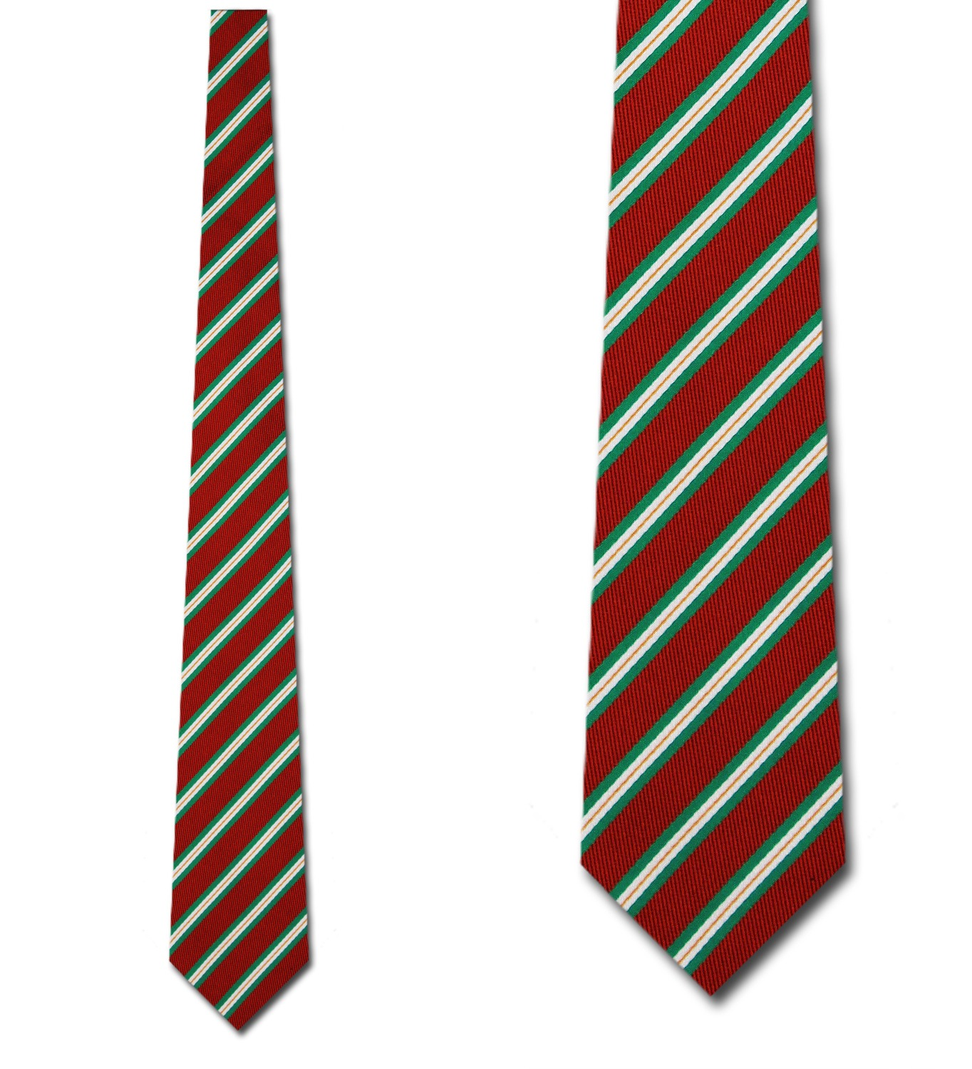 Green and White Stripes on Red Necktie Mens Tie