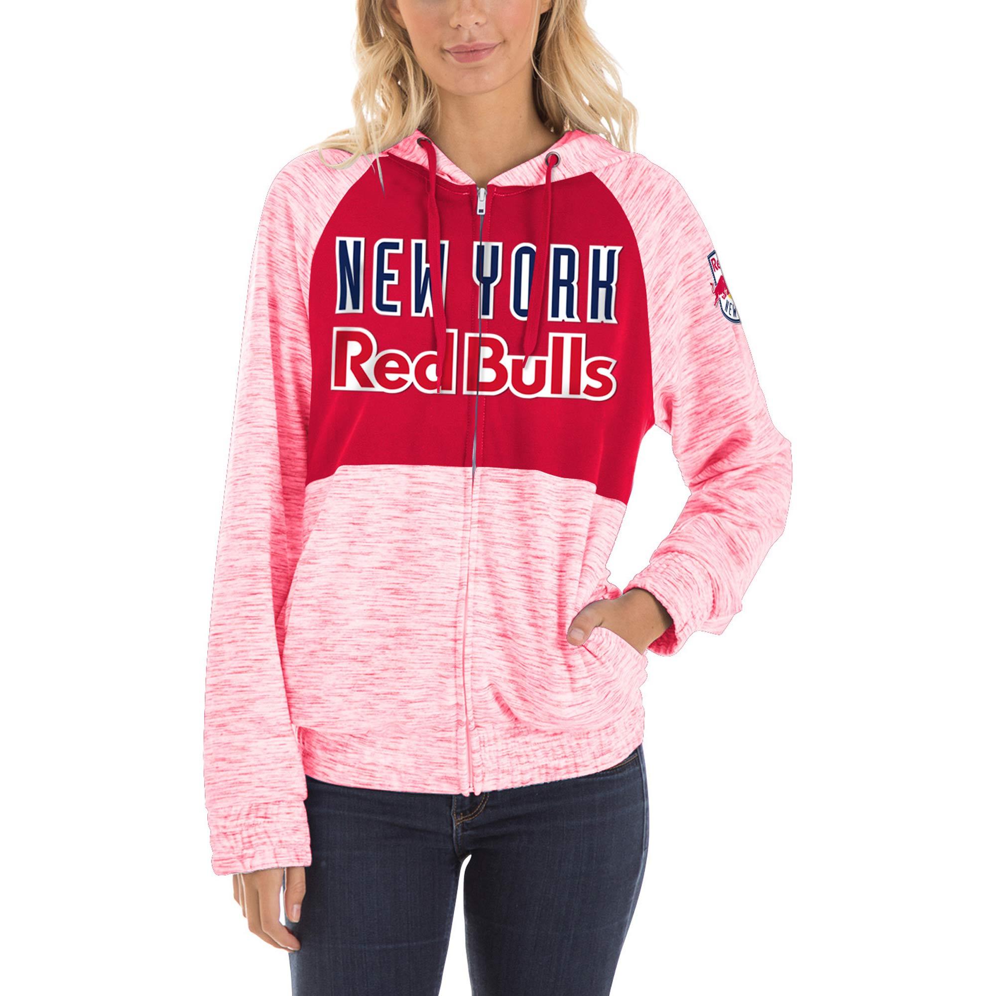 New York Red Bulls 5th & Ocean by New Era Women's Novelty Space Dye Full-Zip Hoodie - Red
