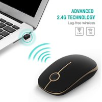 2.4G Slim Wireless Mouse with Nano Receiver, Less Noise, Portable Mobile Optical Mice for Notebook, PC, Laptop, Computer, MacBook MS001 (Black and Gold)