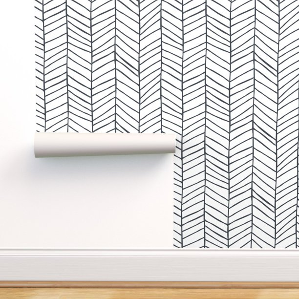Peel And Stick Removable Wallpaper Herringbone Black And White Feather Walmart Com Walmart Com