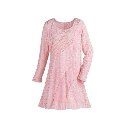 Women's Lace & Crochet Tunic Top - Pink Asymmetrical Textured Swirls Long -