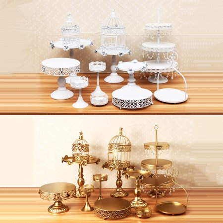 Moaere 12Pcs Antique Metal Cake Stand, Classical Round Cupcake Holder, Cake Plate Tray, Cookie Pedestal Display Tower, for Wedding Birthday Party](Cookie Display Stand)
