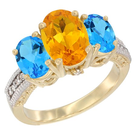 8x6mm Oval Ring Setting (14K Yellow Gold Diamond Natural Citrine Ring 3-Stone Oval 8x6mm with Swiss Blue Topaz, sizes5-10 )