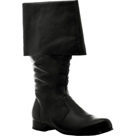 1 inch  Heel Mens Sizes Cuffed Pirate Knee Boot Black or - Mens Brown Pirate Boots