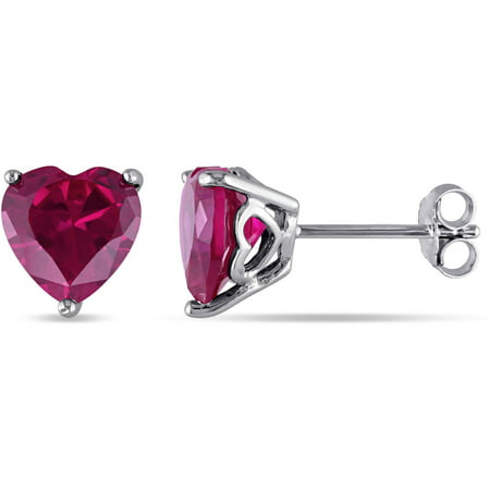 Heart Shaped Ruby Earrings (Tangelo 5.68 Carat T.G.W. Heart-Shaped Ruby Sterling Silver Earrings )