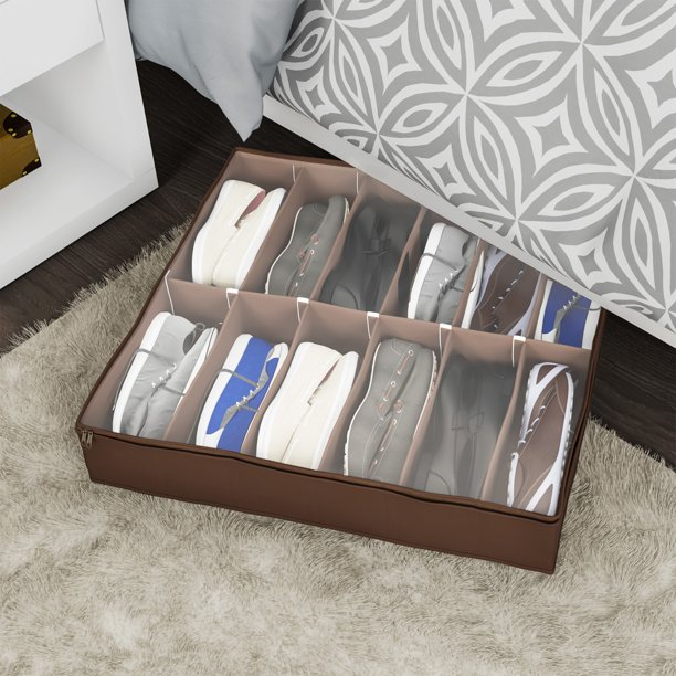 Under Bed Storage Shoe Organizer Bag with Clear Plastic Zippered
