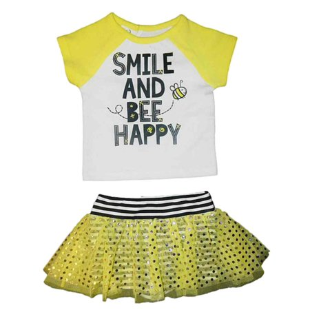 Bumble Bee Outfits For Toddlers (Freshly Squeezed Infant Girl 2 PC Smile And Bee Happy Shirt Tutu Shorts)