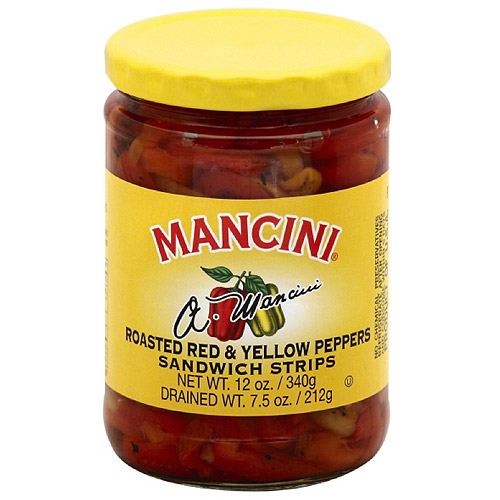 Mancini Roasted Red & Yellow Strips Peppers Sandwich Strips, 12 oz, (Pack of 12)