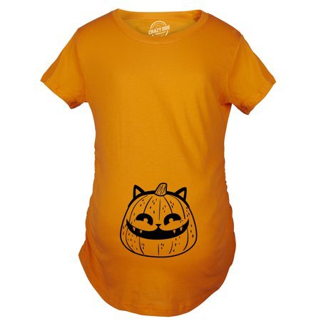 Maternity Pumpkin Cat Pregnancy Tshirt Funny Halloween Kitty Tee For Mom To Be