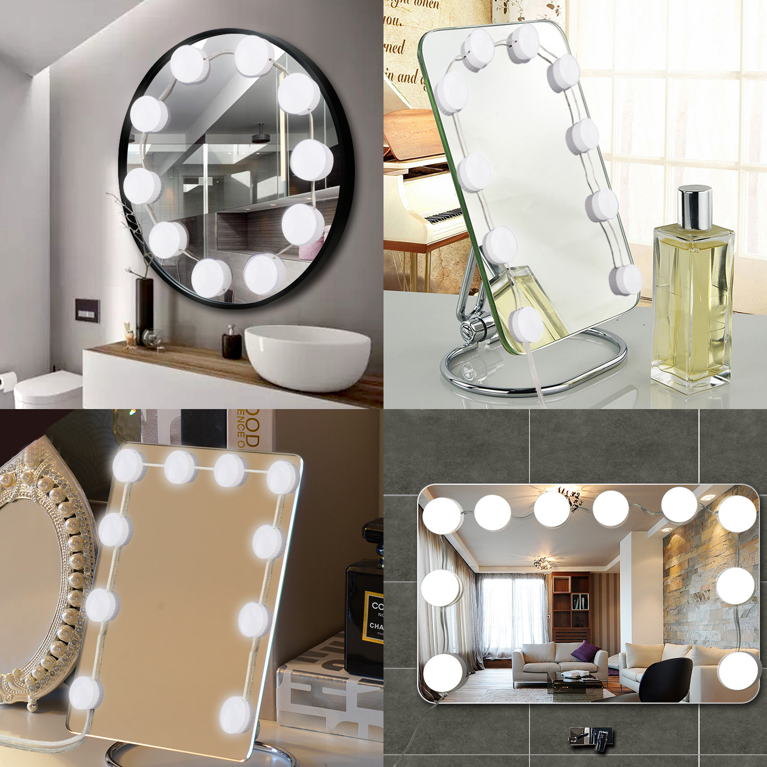 TSV Hollywood Style LED Vanity Mirror Lights Kit with Dimmable Light Bulbs, Lighting Fixture Strip for Makeup Vanity Table Set in Dressing Room (Mirror Not Include)