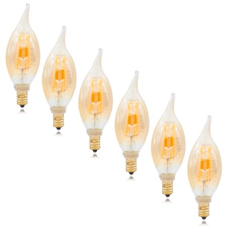 Maxxima LED Candelabra Filament Bulb, 2200K Amber Warm White 400 Lumens, Dimmable (6 Pack)