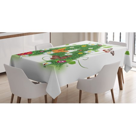 Letter A Tablecloth, First Letter of the Alphabet Natural Construction Green Leaves Butterflies, Rectangular Table Cover for Dining Room Kitchen, 60 X 84 Inches, Green Multicolor, by Ambesonne - Sofia The First Table Cloth