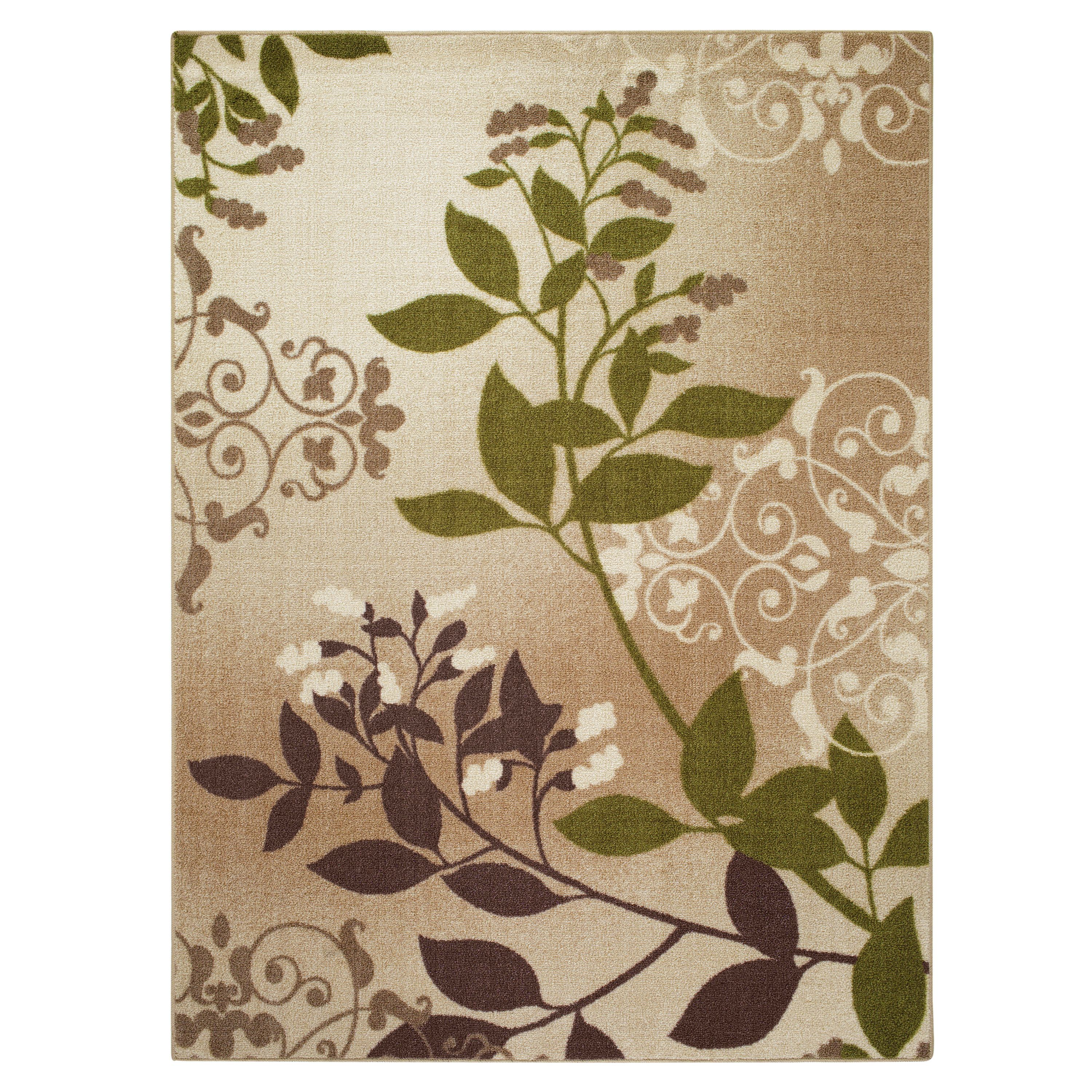Mainstays Belvedere Tan Leaves Print Area Rug Or Runner Multiple
