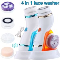 Electric Facial Cleansing Brush, Waterproof Facial Cleansing Brush Set with 4 Exfoliating Brush Heads - Advanced Spin Brush for Gentle Exfoliation and Deep Scrubbing