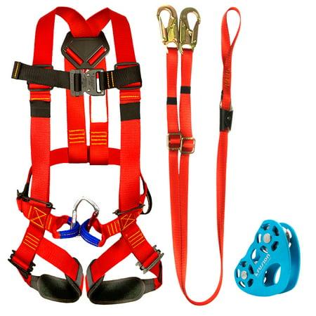 Fusion Climb Kids Backyard Zip Line Kit Harness Lanyard Trolley Bundle FK-K-HLT-03 (Rock Climbing Harness Kids)