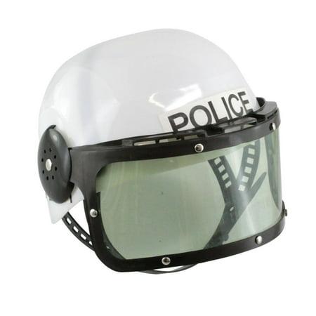 Plastic European Policeman Police Cop Motorcycle Riot SWAT Helmet Visor Costume - Swat Team Helmet
