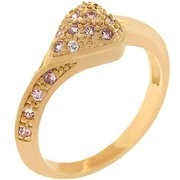 Sunrise Wholesale J2438 09 14k Rose Gold Bonded Pave Pink Ice Handset CZ Along One Side of Shank and Heart Shape Ring