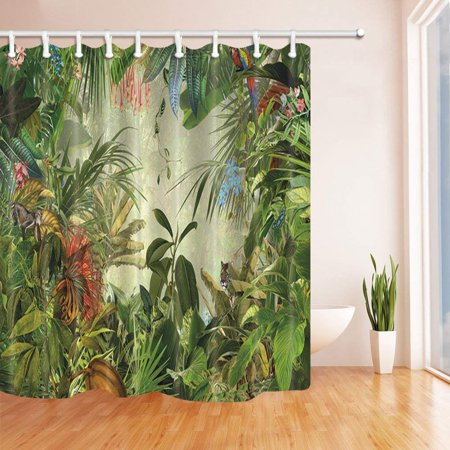 BSDHOME Tropical Rainforest Decor Animals in the Palm and Banana Leaves Polyester Fabric Bathroom Shower Curtain 66x72 inches - image 1 of 1