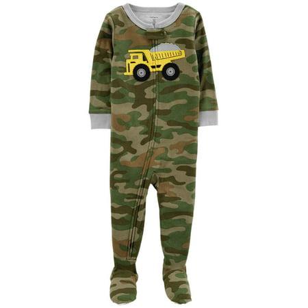 Cotton Camouflage Pajamas - Carters Toddler Boys Green Camo Dump Truck Sleeper Cotton Footed Pajamas