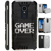 For LG Rebel 3 | LG Rebel 4 Case Brushed Metal Texture Hybrid TPU Silver Guard Phone Cover (Game Over)