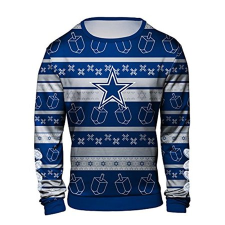 a421f68a5 Forever Collectibles NFL Men s Dallas Cowboys Hanukkah Ugly Crew ...