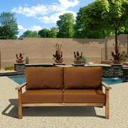 Gilli Outdoor Teak Wood Sofa with Sunbrella Cushions, Brown