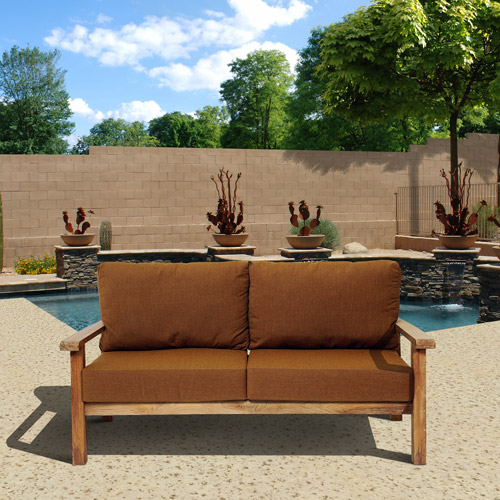 gilli outdoor teak wood sofa with sunbrella cushions brown