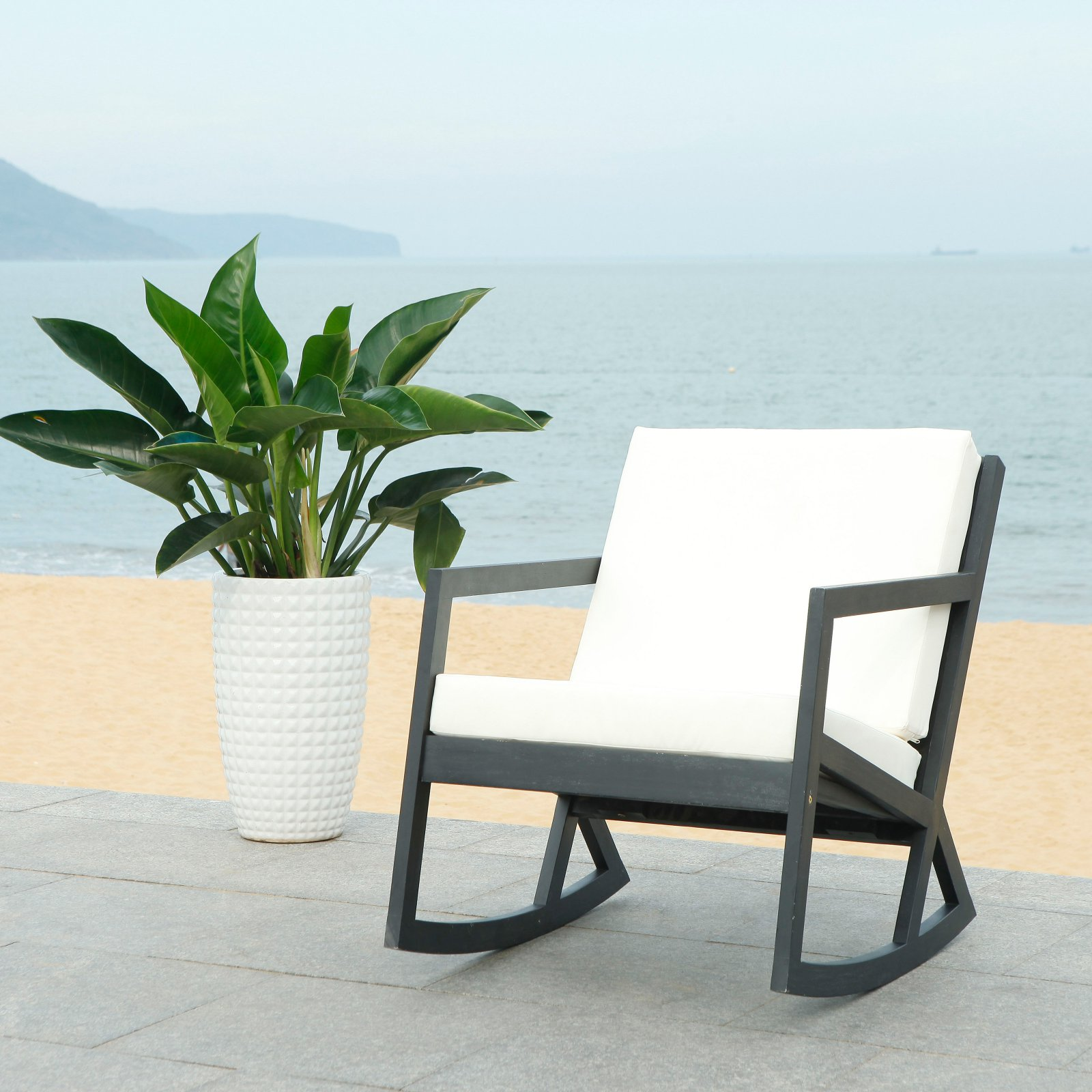 Safavieh Vernon Indoor/Outdoor Modern Rocking Chair with Cushion