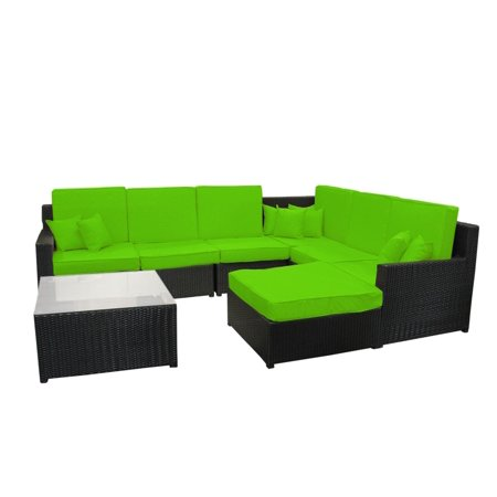 Cc Outdoor Living Wicker Sectional Sofa Table Ottoman Lime Green Cushions