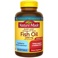 Nature Made Burp-Less Omega-3 from Fish Oil 1200 mg Softgels, 125 Count for Heart Health