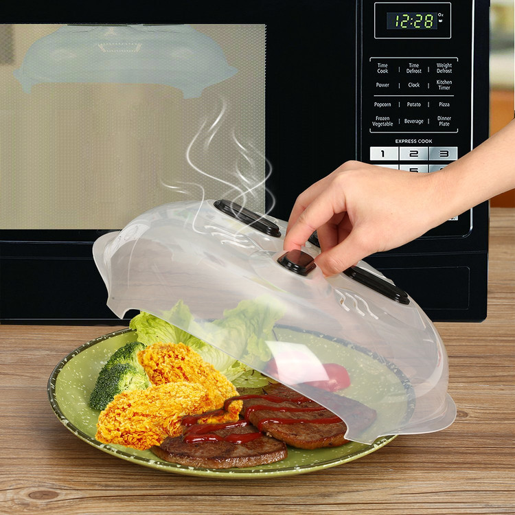 Cooking Kit Food Splatter Guard Microwave Hover Anti-Sputtering Cover With Steam Vents
