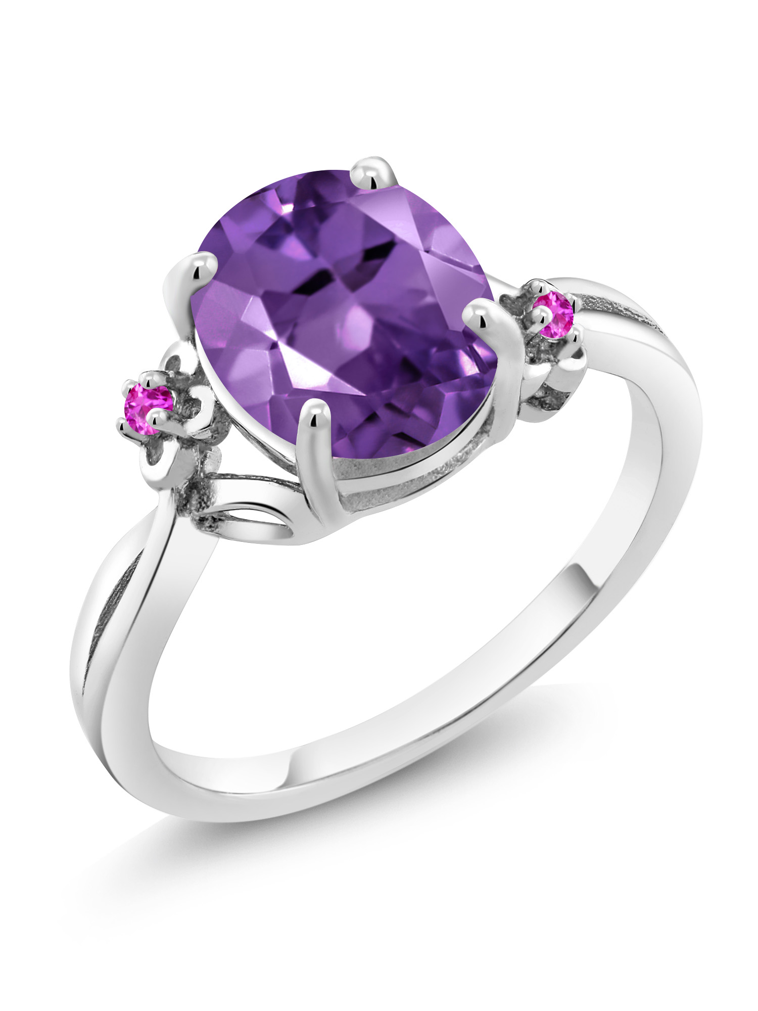 2.24 Ct Oval Purple Amethyst Pink Sapphire 925 Sterling Silver Ring by