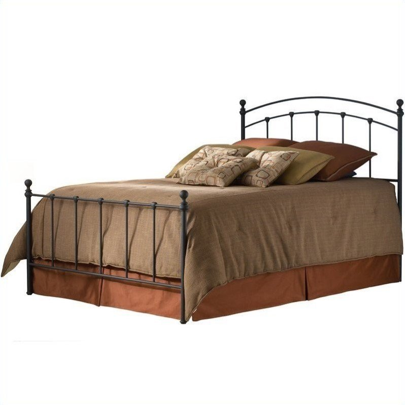 Sanford Complete Bed with Metal Panels and Round Finial Posts, Matte Black Finish, Twin