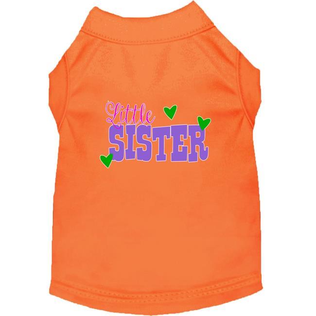 Little Sister Screen Print Dog Shirt Orange Lg