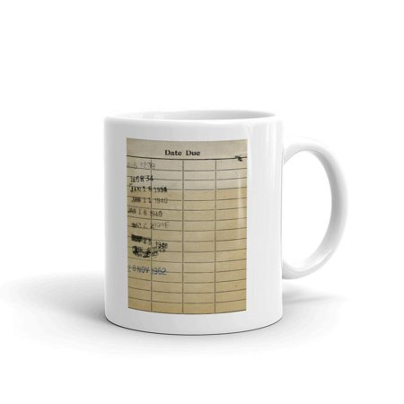 Library Date Due Card Coffee Tea Ceramic Mug Office Work Cup Gift 11oz