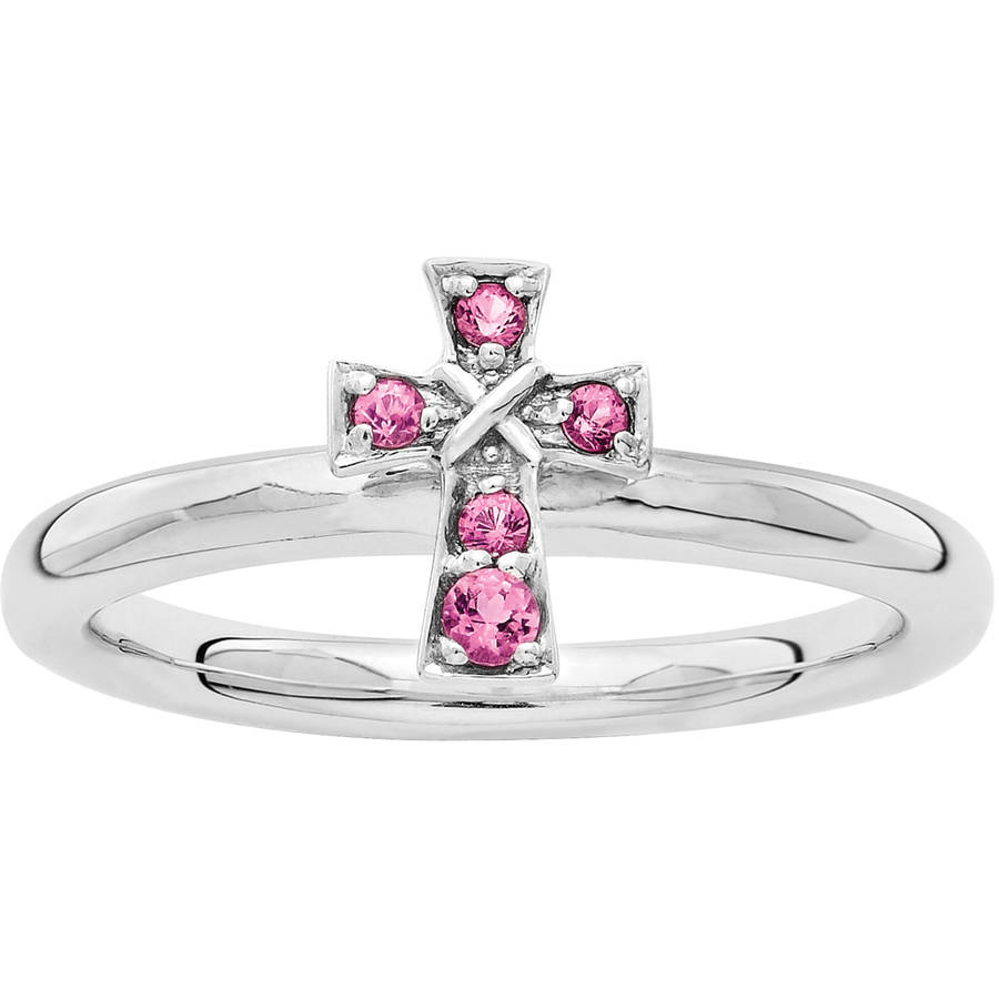 Stackable Expressions Pink Tourmaline Sterling Silver Rhodium Cross Ring by Generic
