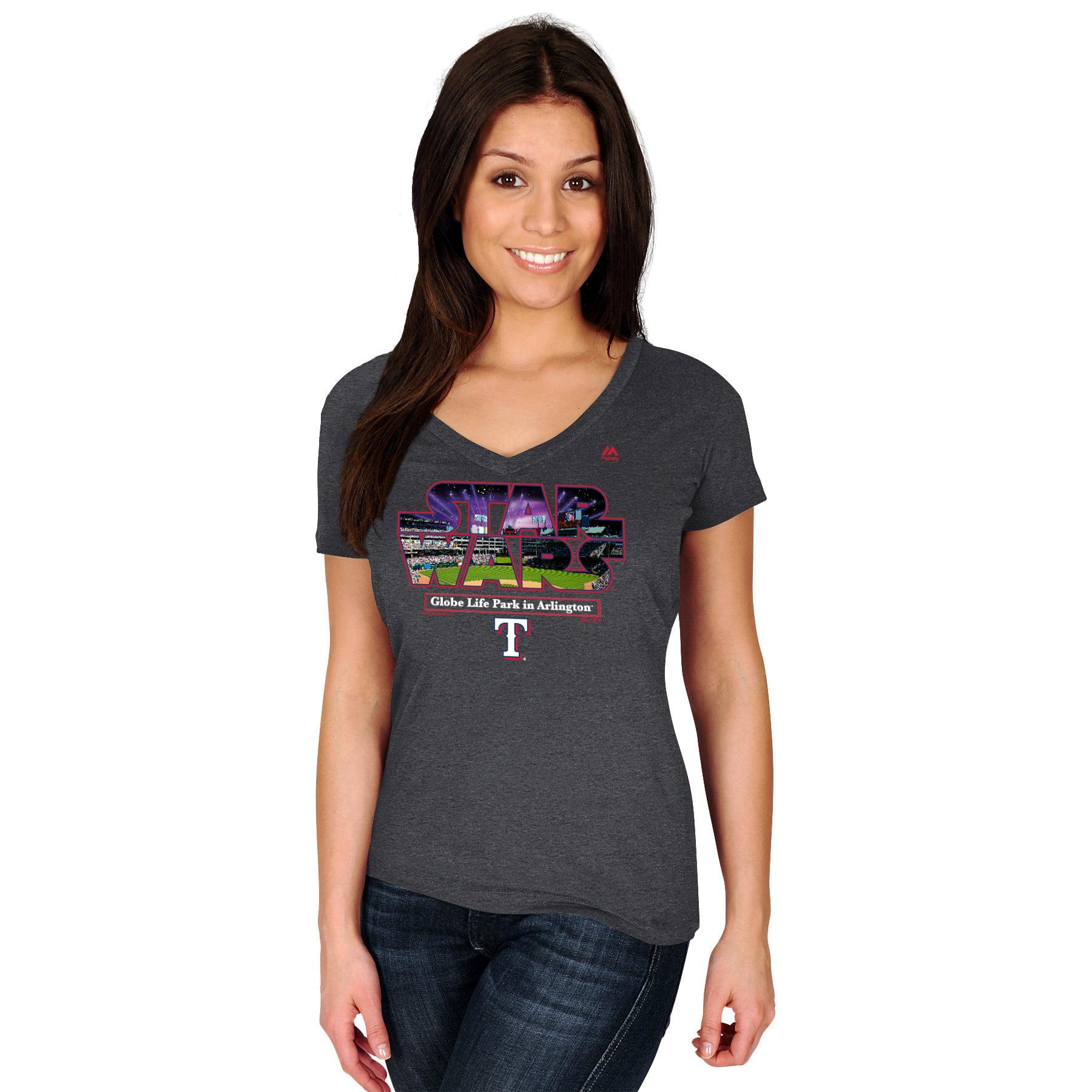 Texas Rangers Majestic Women's 2015 Star Wars Day Stadium T-Shirt - Charcoal
