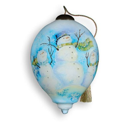 Ne 'Qwa Art 442-SN-SW Three Winter Snowmen Hand-Painted Glass - Ne Qwa Halloween Ornaments
